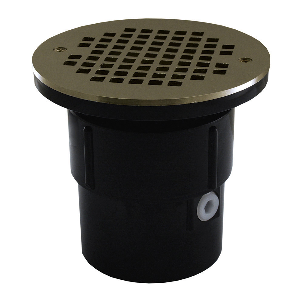 Jones Stephens™ D53073 Pipe Fit Drain Base With Round Strainer and Spud, 3 x 4 in, 6 in, ABS Drain, Domestic