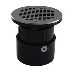 Jones Stephens™ D53193 Over Pipe Fit Base With Round Strainer and Spud, 2 in, 4 in, ABS Drain, Domestic