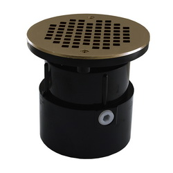Jones Stephens™ D53199 Over Pipe Fit Base With Round Strainer and Spud, 2 in, 4 in, ABS Drain, Domestic