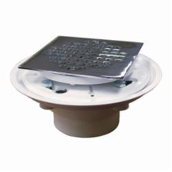 Jones Stephens™ D50134 Shower/Floor Drain, 4-1/4 in, Solvent Weld, 4 in Stainless Steel Grid, PVC Drain, Domestic