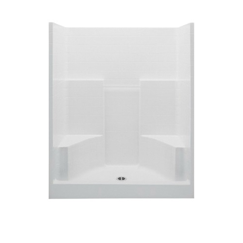 Aquatic 1603CTGN-WHT Everyday 1-Piece Shower Stall, 60 in W x 72 in H, AcrylX™ Acrylic, White