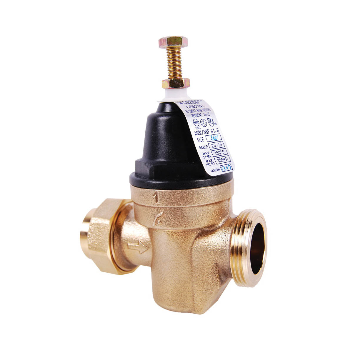 LEGEND LEGEND GREEN™ 111-335NL T-6801NL Compact Pressure Reducing Valve, 1 in, FNPT, 300 psi CWP, 25 gpm, Brass Body, Import