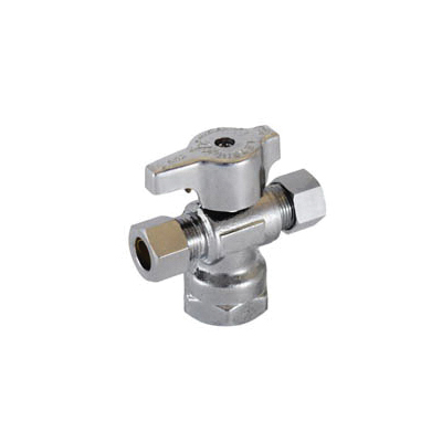 LEGEND 114-803NL T-597NL 1/4 Turn Dual Outlet Supply Stop Valve, 1/2 x 3/8 x 3/8 in, FNPT x OD Compression x OD Compression, Forged Brass Body, Import