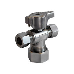 LEGEND 114-824NL T-597NL 1/4 Turn Dual Outlet Supply Stop Valve, 5/8 x 3/8 x 1/4 in, OD Compression, Forged Brass Body, Import