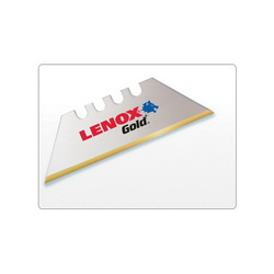 Lenox® Gold® 20350GOLD5C General Purpose Utility Knife Blade With Dispenser, Sharp Point/Straight Edge, 1 in L x 3/4 in W, Compatible With 2DZJ5 Utility Knives, 0.024 in THK, HSS