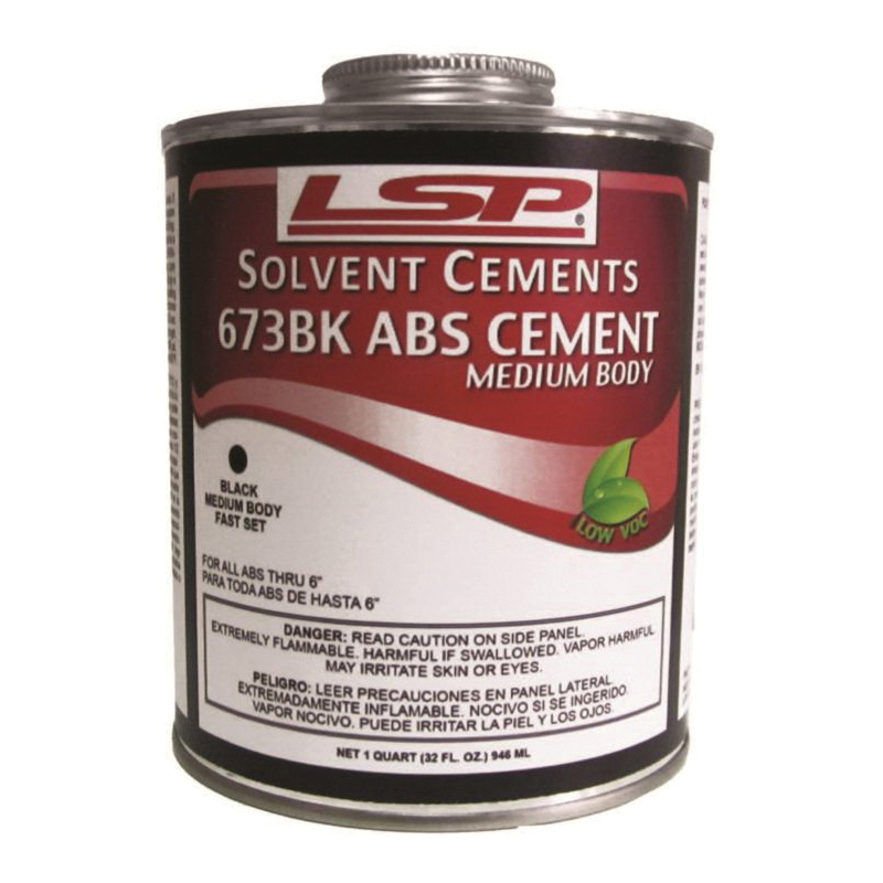 LSP™ 673BK-4 ABS Cement, 1 qt, Liquid, Black, 0.86