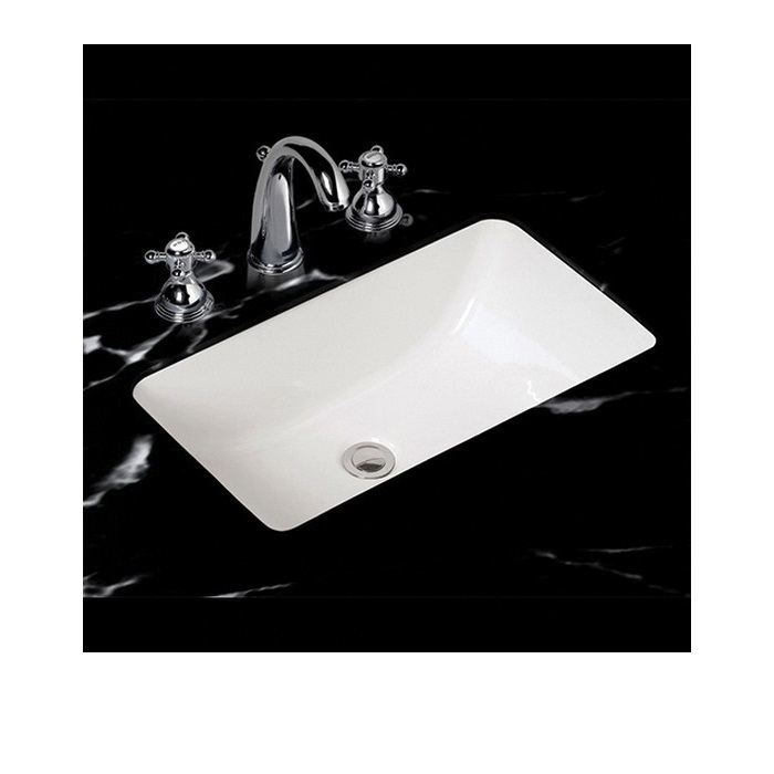 Mansfield® 218NS WH Petite Covington Lavatory Sink With Consealed Front Overflow, Rectangular, 21-3/8 in W x 13-1/2 in D x 8 in H, Undercounter Mount, Vitreous China, White