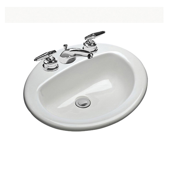 Mansfield® 237-4 WH MS Oval Self-Rimming Lavatory With Consealed Front Overflow, Oval, 4 in Faucet Hole Spacing, 20-1/2 in W x 17 in D x 8 in H, Drop-In Mount, Vitreous China, White, Domestic