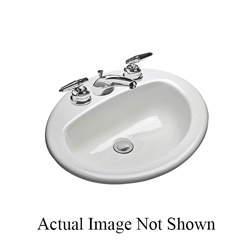 Mansfield® 237-1 MS Series Mansfield® Drop-In Self-Rimming Lavatory Sink, Oval, 17 in W x 8 in D x 20-1/2 in H, Drop-In Mount, Vitreous China, White, Domestic