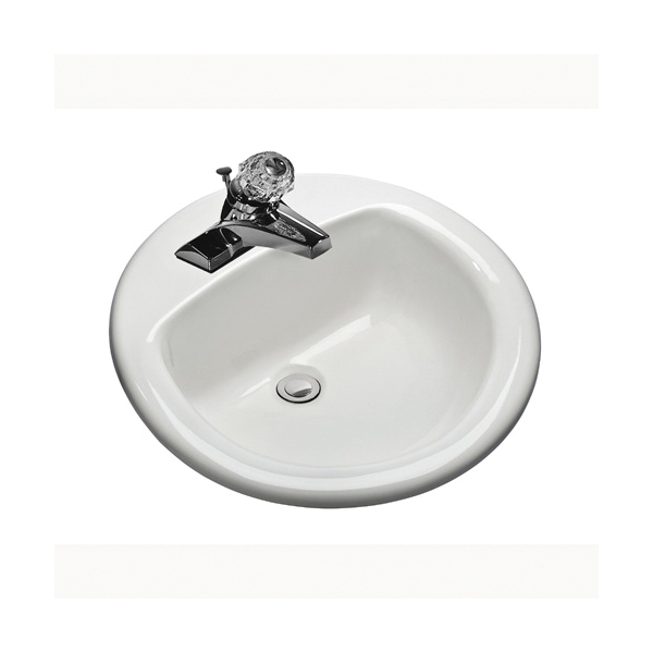 Mansfield® 239-4 MS Series Mansfield® Drop-In Self-Rimming Lavatory Sink, Round, 4 in Faucet Hole Spacing, 19-5/8 in W x 8.13 in D x 19-1/4 in H, Drop-In Mount, Vitreous China, White, Domestic