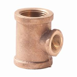 Merit Brass XNL106-161608 Reducing Pipe Tee, 1 x 1 x 1/2 in, FNPT, 125 lb, Brass, Rough, Import