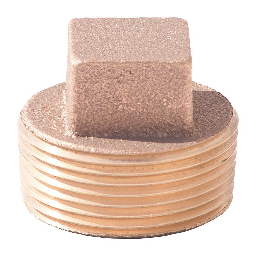 Merit Brass 117-32 Square Head Pipe Plug, 2 in, Thread, 125 lb, Brass, Domestic