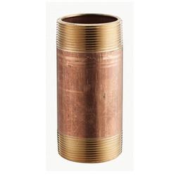 Merit Brass 2020-1200 Pipe Nipple, 1-1/4 in x 12 in L NPT, Red Brass, SCH 40/STD, Seamless, Domestic