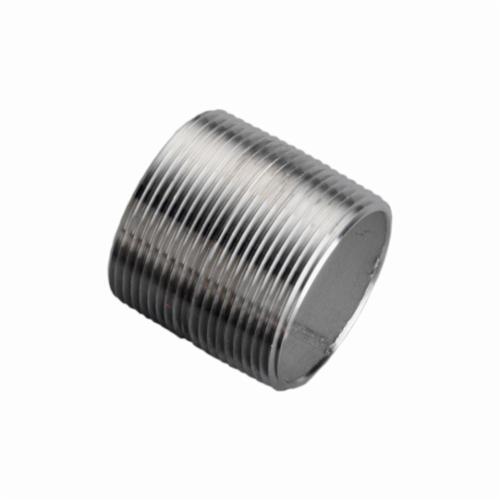 Merit Brass 4008-001 Pipe Nipple, 1/2 in x Closed L MNPT, 304/304L Stainless Steel, SCH 40/STD, Welded, Domestic