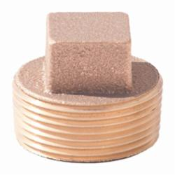 Merit Brass XNL117-16 Square Head Cored Plug, 1 in, MNPT, 125 lb, Brass, Rough, Import