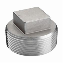 Merit Brass K417-08 Square Head Cored Plug, 1/2 in, MNPT, 150 lb, 304/304L Stainless Steel, Import