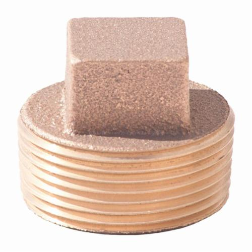 Merit Brass X117A-24 Square Head Solid Plug, 1-1/2 in, MNPT, 125 lb, Brass, Rough, Import