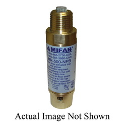MIFAB® MR-500 M-500 Pressure Drop Activated Trap Seal Primer, 4-1/8 in L, 1/2 in FNPT x 1/2 in MNPT, Brass