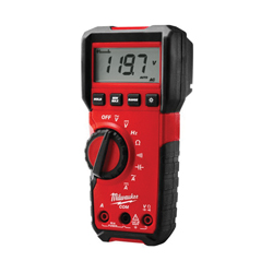 Milwaukee® 2216-20 Heavy Duty Digital Multimeter, 6 mV to 600 VAC/VDC, 10 A, 40 MOhm, Black On White LCD Display