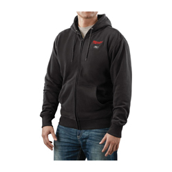 Milwaukee® 2380-L M12™ Heated Hoodie, L, Men's, Black, Polyester Blend Inner/Cotton/Polyester Blend Outer/Waffle Weave Cotton