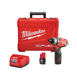 Milwaukee® 2402-22 M12 FUEL™ 2-Speed Screwdriver Kit, 1/4 in Chuck, 350 in-lb, 12 VDC, Lithium-Ion Battery, Metal Housing