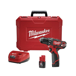Milwaukee® 2407-22 M12™ Compact Lightweight Cordless Drill/Driver Kit, 3/8 in Keyless/Single Sleeve Ratcheting Lock Chuck, 275 in-lb Torque, 12 VDC, Lithium-Ion Battery