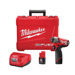Milwaukee® 2452-22 M12 FUEL™ Cordless Impact Wrench Kit, 1/4 in Straight Drive, 0 to 3000/0 to 4000 bpm, 500 in-lb Torque, 12 VDC
