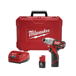 Milwaukee® M12™ Cordless Impact Driver Kit, 1/4 in Hex Drive, 0 - 3300 ipm, 1000 in-lb Torque, 12 V