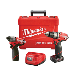 Milwaukee® 2597-22 M12 FUEL™ 2-Tool Cordless Combination Kit, Tools: Hammer Drill, Impact Driver, 12 V, 2 Ah Lithium-Ion, Keyless Blade