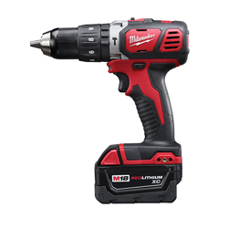 Milwaukee® 2607-22 M18™ Hammer Drill/Driver Kit, 1/2 in Metal Single Sleeve Ratcheting Lock Chuck, 525 in-lb Torque, 18 VDC, Lithium-Ion Battery