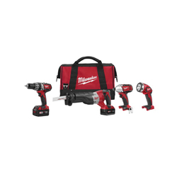 Milwaukee® 2696-24 M18™ Cordless Combination Kit, Tools: Hammer Drill, Impact Driver, Reciprocating Saw, 18 V, 3 Ah Lithium-Ion, Keyless