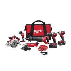 Milwaukee® 2696-26 M18™ Cordless Combination Kit, Tools: Angle Grinder, Circular Saw, Hammer Drill, Impact Driver, Reciprocating Saw, 18 V, 3 Ah Lithium-Ion, Keyless