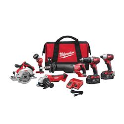 Milwaukee® 2696-26 M18™ Cordless Combination Kit, Tools: Angle Grinder, Circular Saw, Hammer Drill, Impact Driver, Reciprocating Saw, 18 V, 3 Ah Lithium-Ion, Keyless