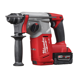 Milwaukee® 2712-22 M18™ FUEL™ Cordless Rotary Hammer Drill Kit, 1 in Keyless/SDS Plus Chuck, 18 VDC, 1400 rpm No-Load, Lithium-Ion Battery
