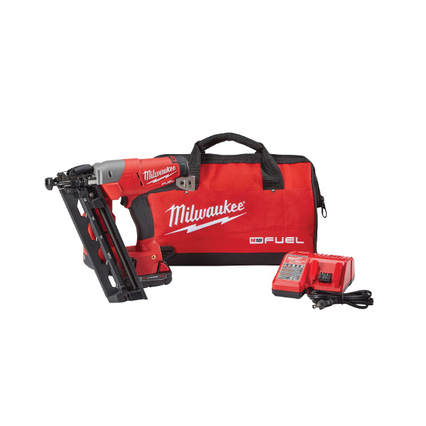 Milwaukee® 2742-21CT M18™ FUEL™ Cordless Finish Nailer Kit, 1-1/4 to 2-1/2 in Fastener, 110 Nails Magazine, 11-29/32 in OAL, Battery Power