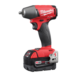 Milwaukee® 2754-22 M18 FUEL™ Brushless Compact Impact Wrench Kit, 3/8 in Straight Drive, 0 to 3200 bpm, 220 ft-lb Torque, 18 VDC