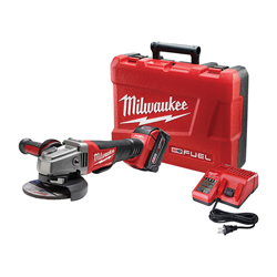 Milwaukee® 2780-21 M18™ FUEL™ Cordless Grinder Kit, 5 in Dia Wheel, 5/8-11 Arbor/Shank, 18 VDC, Lithium-Ion Battery, 1 Batteries, Paddle No-Lock Switch