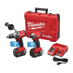Milwaukee® 2796-22 M18 FUEL™ 2-Tool Cordless Combination Kit With ONE-KEY™ Mobile App, Tools: Hammer Drill, Impact Driver, 18 V, 5 Ah Lithium-Ion, Keyless Blade