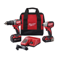 Milwaukee® 2799-22CX M18™ Compact Brushless Hammer Drill/Brushless Impact Cordless Combination Kit, Tools: Hammer Drill, Impact Driver, 18 V, 2, 4 Ah Lithium-Ion, Keyless Blade