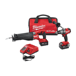 Milwaukee® 2894-22 M18 FUEL™ 2-Tool Cordless Combination Kit, Tools: Hammer Drill, Reciprocating Saw, 18 V, 5 Ah Lithium-Ion, Keyless Blade