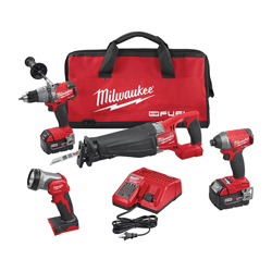 Milwaukee® 2896-24 M18 FUEL™ 4-Tool Cordless Combination Kit, Tools: Hammer Drill, Impact Driver, Reciprocating Saw, 18 V, 5 Ah Lithium-Ion, Keyless