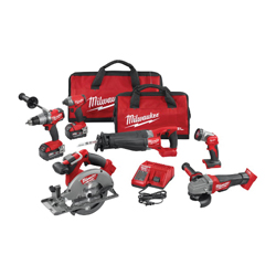 Milwaukee® 2896-26 M18 FUEL™ 6-Tool Cordless Combination Kit, Tools: Angle Grinder, Circular Saw, Hammer Drill, Impact Wrench, Reciprocating Saw, 18 V, 5 Ah Lithium-Ion, Keyless Blade