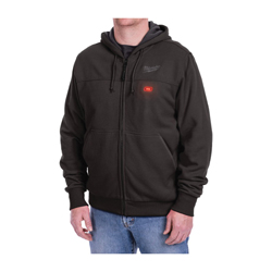 Milwaukee® 301B-21XL M12™ Heated Hoodie Kit, XL, Black, Cotton/Polyester Blend Outer, 44 to 46 in Chest
