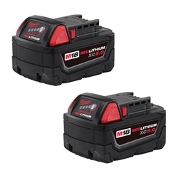 Milwaukee® 48-11-1852 M18™ Rechargeable Cordless Battery Pack, 5 Ah Li-Ion Battery, 18 VDC, For Use With Milwaukee® M18™ Cordless Power Tools, Bare Tool