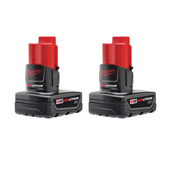 Milwaukee® 48-11-2412 M12™ Rechargeable Cordless Battery Pack, 3 Ah Li-Ion Battery, 12 VDC, For Use With Milwaukee® M12™ Cordless Power Tools, Bare Tool