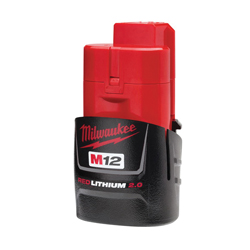 Milwaukee® 48-11-2420 M12™ Compact Rechargeable Cordless Battery Pack, 2 Ah Li-Ion Battery, 12 VDC, For Use With Milwaukee® M12™ Cordless Power Tools, Bare Tool