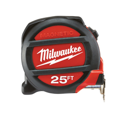 Milwaukee® 48-22-5125 Heavy Duty Magnetic Tape Measure, 25 ft L x 1 in W Blade, Steel, SAE