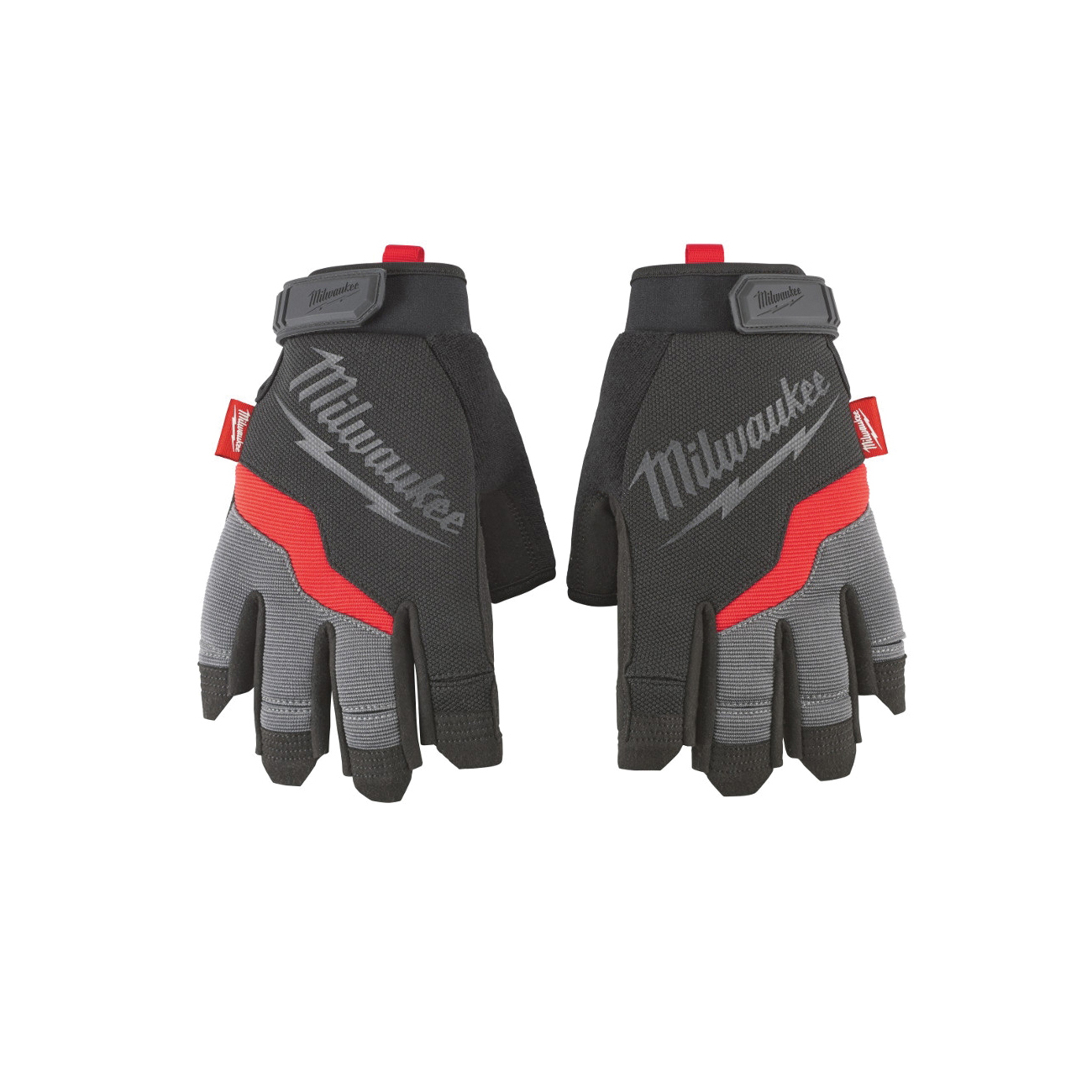 Milwaukee® 48-22-8743 Demolition Fingerless General Purpose Work Gloves, XL, Black/Red, High Dexterity Finger Tip, Synthetic Leather
