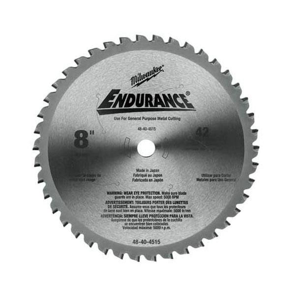 Milwaukee® 48-40-4515 Circular Saw Blade, 8 in Dia x 0.073 in THK, 5/8 in Arbor, Hardened Steel Blade, 42 Teeth