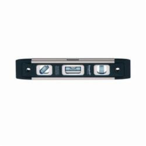 EMPIRE® True Blue® EM81.9 Heavy-Duty Magnetic Torpedo Level, 9 in L, 3 Vials, (1) 45 deg, (1) Level, (1) Plumb Vial Position, 0.0005 in, Aluminum